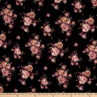 Fabric Merchants Techno Scuba Knit Rose Bouquet Black/Rose