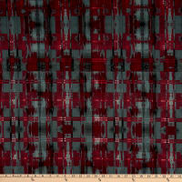 Fabric Merchants Techno Scuba Stretch Stretch Knit Abstract Plaid Wine/Charcoal