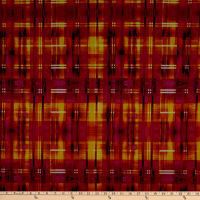 Fabric Merchants Techno Scuba Knit Abstract Plaid Orange