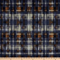 Fabric Merchants Techno Scuba Stretch Stretch Knit Abstract Plaid Brown