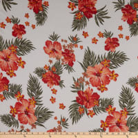 Fabric Merchants French Terry Knit Tropical Floral Ivory/Coral