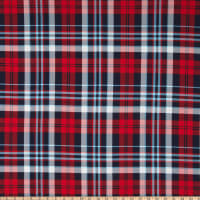Fabric Merchants ITY Jersey Knit Plaid Red