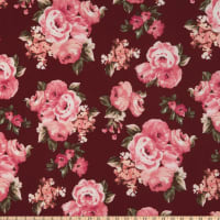 Fabric Merchants ITY Jersey Knit Rose Bouquet Wine/Rose