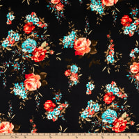 Fabric Merchants ITY Jersey Knit Rose Bouquet Black/Coral