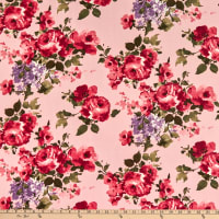 Fabric Merchants ITY Jersey Knit Watercolor Roses Dusty Pink/Mauve