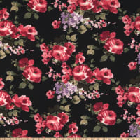 Fabric Merchants ITY Jersey Knit Watercolor Roses Black/Coral