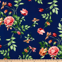 Fabric Merchants ITY Stretch Jersey Knit Floral Garden Navy/Pink