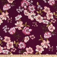 Fabric Merchants ITY Jersey Knit Floral Burgundy/Taupe