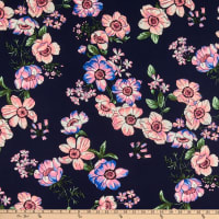 Fabric Merchants ITY Stretch Jersey Knit Floral Navy/Lilac