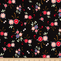 Fabric Merchants ITY Jersey Knit Floral Black/Pink