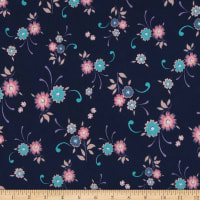 Fabric Merchants ITY Stretch Jersey Knit Floral Navy/Pink