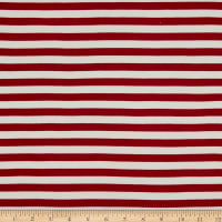 Fabric Merchants Double Brushed Poly Jersey Knit Horizontal Stripe Burgundy