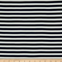 Fabric Merchants Double Brushed Poly Jersey Knit Horizontal Stripe Navy
