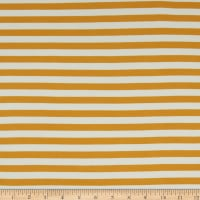 Fabric Merchants Double Brushed Poly Jersey Knit Horizontal Stripe Mustard