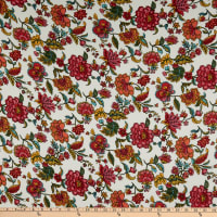 Fabric Merchants Double Brushed Poly Jersey Knit Bohemian Floral Ivory/Coral