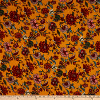 Fabric Merchants Double Brushed Poly Jersey Knit Bohemian Floral Mustard