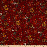 Fabric Merchants Double Brushed Poly Stretch Jersey Knit Bohemian Floral Rust/Orange