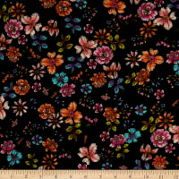 Fabric Merchants Double Brushed Poly Jersey Knit Bohemian Floral Garden Black/Pink