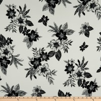 Fabric Merchants Double Brushed Poly Jersey Knit Floral Garden Ivory/Black