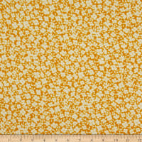 Fabric Merchants Double Brushed Poly Jersey Knit Mini Allover Floral Mustard