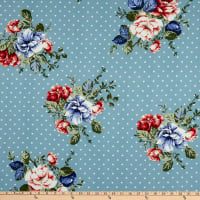 Fabric Merchants Double Brushed Poly Jersey Knit Polka Dot Floral Light Blue