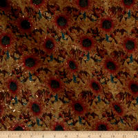 Belagio Cork Fabric Floral Rust