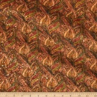 Belagio Cork Fabric Floral Green