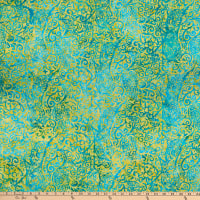 Anthology Batiks Art Inspired Dreamland Scroll Turquoise