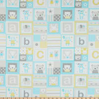 Michael Miller Fabrics Tiny Tots ABC's Patchwork Cloud