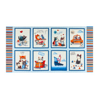 "Michael Miller Feline Friends Cats 24"" Panel Blue"