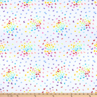 Andover Rainbow Sprinkles Rainbow Butterflies White