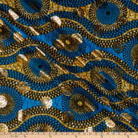 Supreme Osikani African Print Broadcloth 6 Yards Blue/Gold Foil