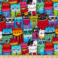 Timeless Treasures Pop Cats Packed Outlined Cats Multi