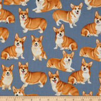 Timeless Treasures Pure Breeds Corgis Grey
