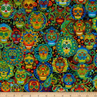 Timeless Treasures Bright Sugar Skulls Multi