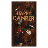 "Timeless Treasures Happy Camper 24"" Panel Brown"