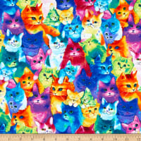 Timeless Treasures Meow-Za Painted Bright Cats Multi