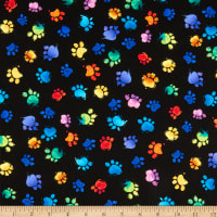 Timeless Treasures Meow-Za Multi Colored Paws Black
