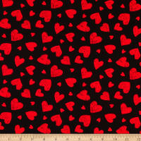 Timeless Treasures You Make My Heart Happy Red Chalk Hearts Black