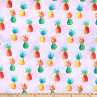 Timeless Treasures Summer Vibes Colorful Pineapples Pink
