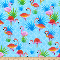 Timeless Treasures Summer Vibes Colorful Flamingos Blue