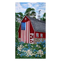 "Timeless Treasures Freedom Farm 24"" Red Barn & Flag Panel Multi"