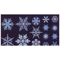 "Benartex Artful Snowflake Ice Crystal 24"" Panel Blue"