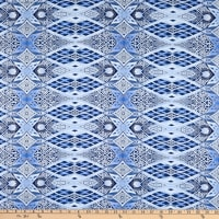 Benartex Artful Snowflake New Cathedral Windows Blue