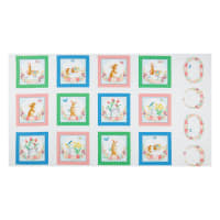 "Kanvas Bunnies & Blossoms Blocks 24"" Panel White"
