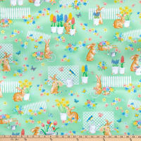Kanvas Bunnies & Blossoms Bunny Garden Green