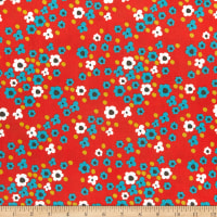 Riley Blake On The Bright Side Hippy Flowers Red