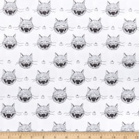 Riley Blake Scaredy Cat Heads White