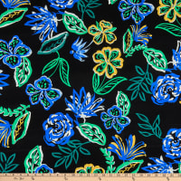 Telio Dakota Rayon Stretch Jersey Knit Print Hand Drawn Floral Black Royal