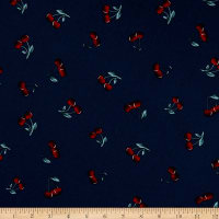 Telio Morocco Blues Stretch Cotton Poplin Print Cherries Navy
